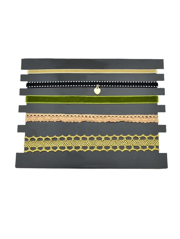 Olive 5 Pcs/Set Black Color Lace Flower Heart Tattoo Choker Necklaces Set