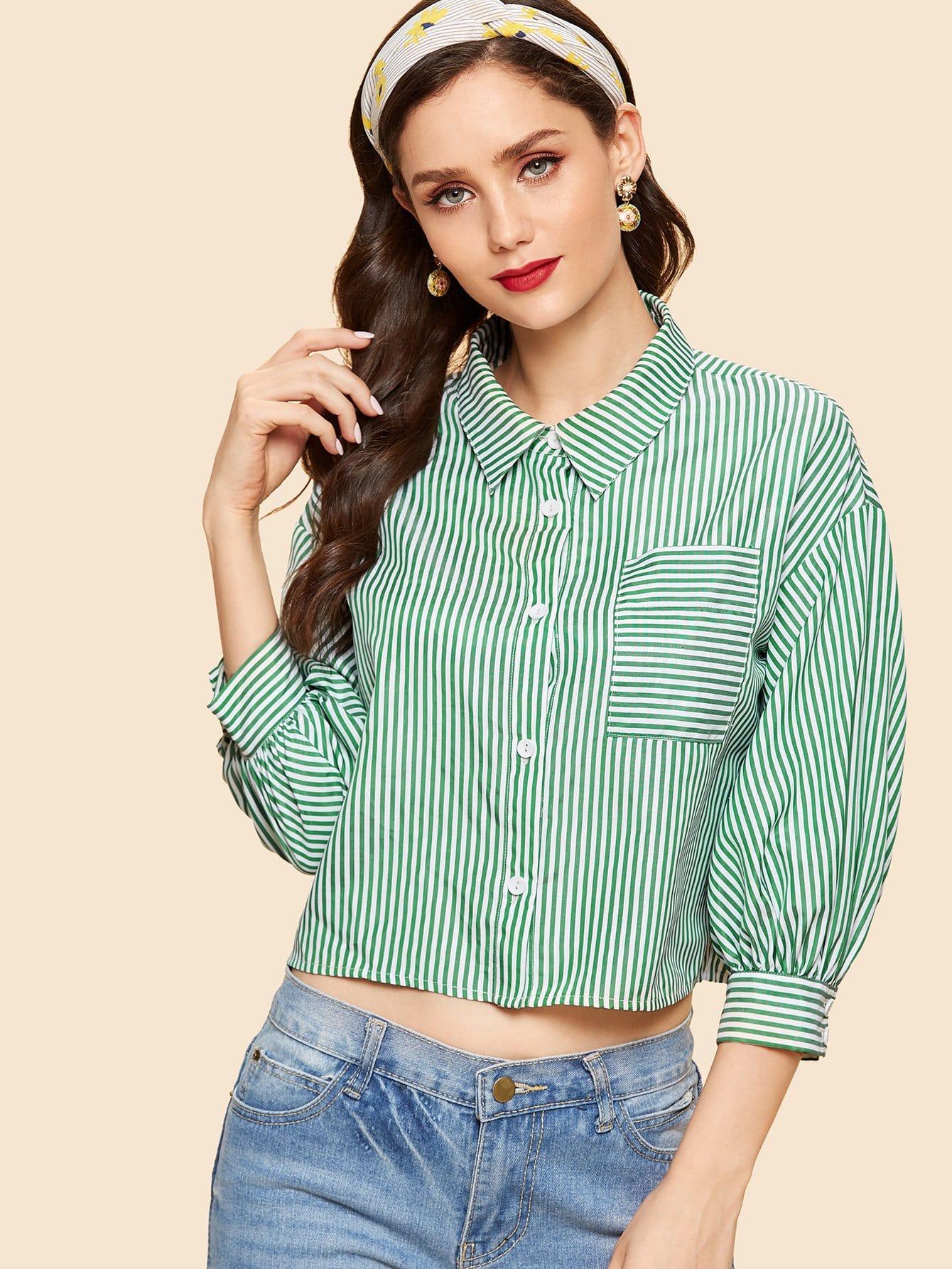 Купить Карманная полосатая полосатая рубашка, Julie H., SheIn