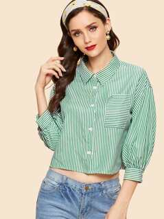 Pocket Patched Striped Shirt