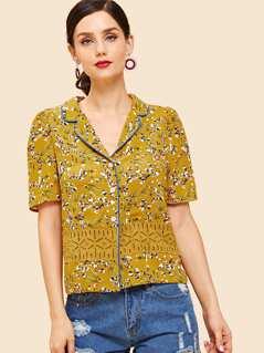 Contrast Lace Floral Print Collar Blouse