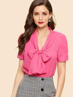 Neon Pink Tie Neck with Button Detail Blouse