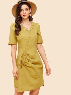Button Neck Frill Trim Asymmetric Dress