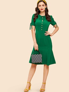 Tie Sleeve Button Front Pencil Dress