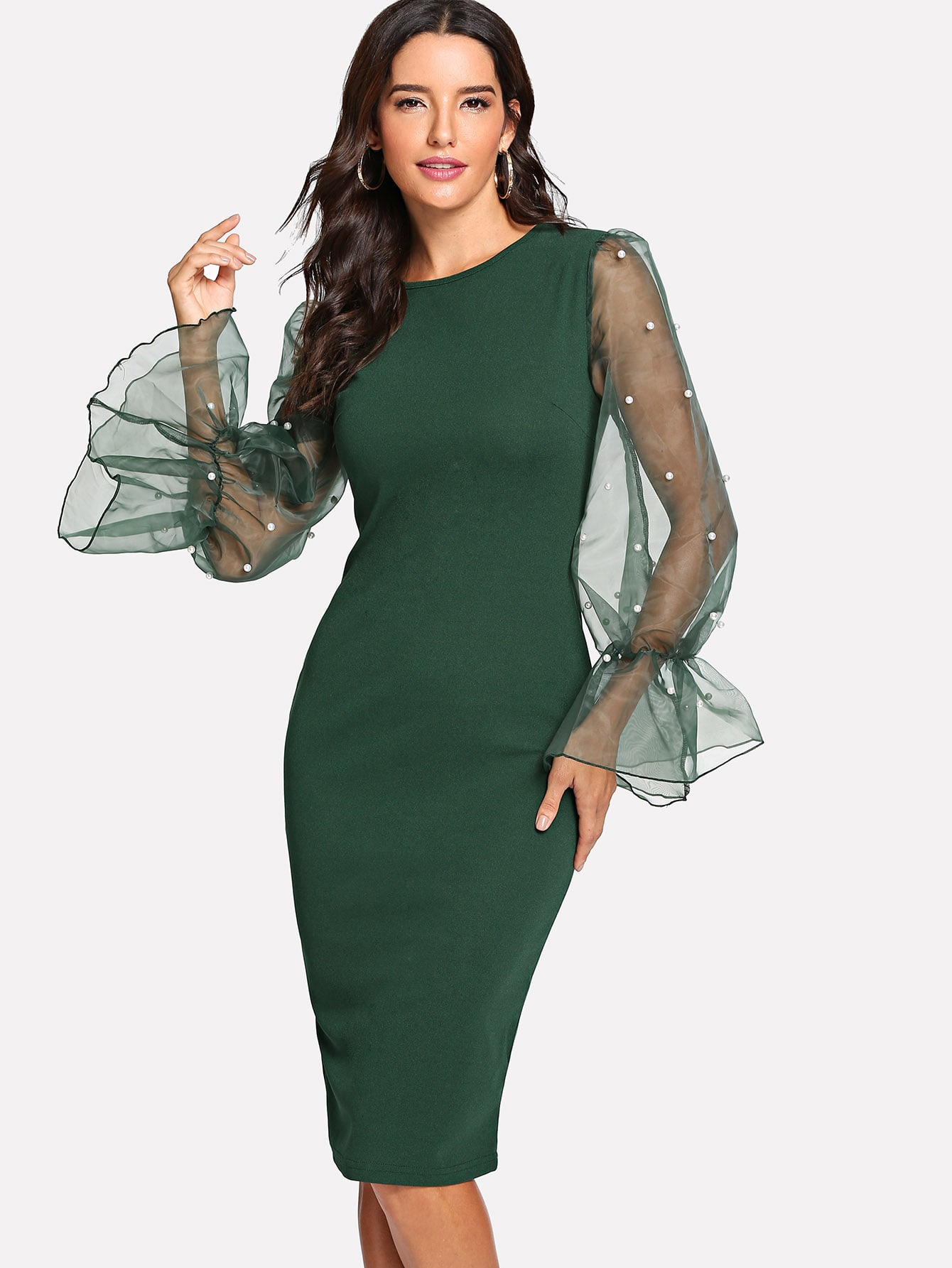 Pearl Beaded Mesh Sleeve Form Fitting Dress