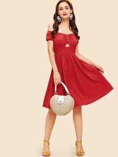 Polka Dot Print Ruched A-Line Dress
