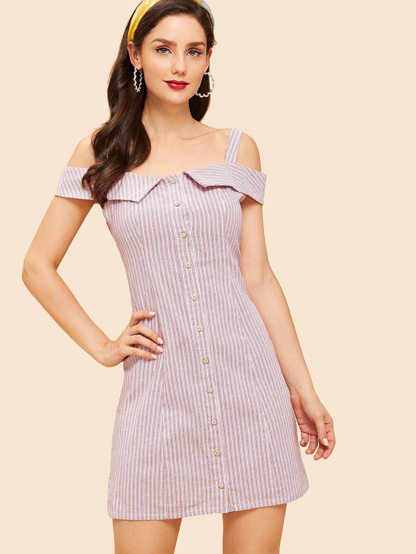 Купить Кнопка Up Полосатый Ками платье, Julie H., SheIn
