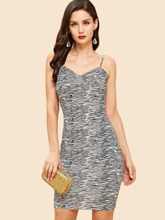 Form Fitting Striped Cami Dress