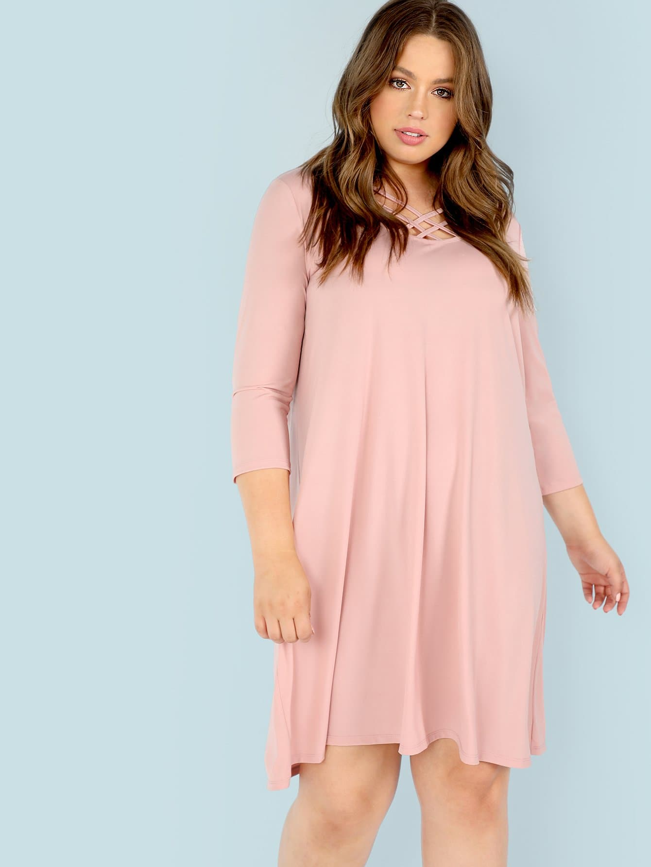 Plus Criss Cross Front Quarter Sleeve Dress