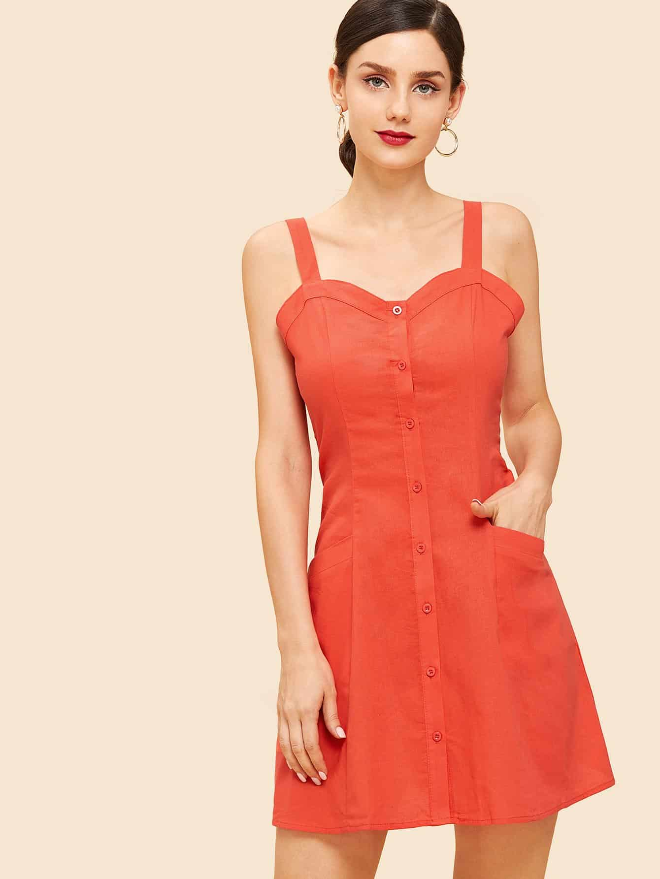 Кнопка Up Pocket Front Cami Dress