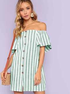 Off Shoulder Button Up Striped Dress