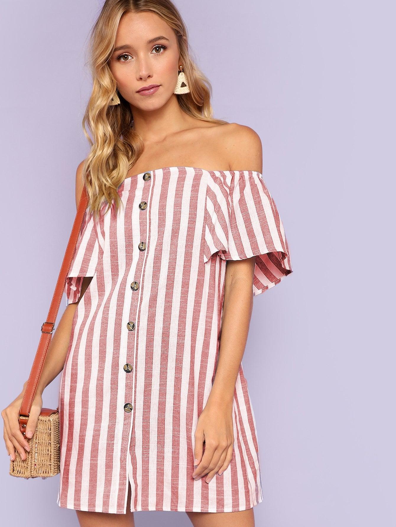 Купить Наплечная кнопка с полосатым платьем, Gigi Paris, SheIn