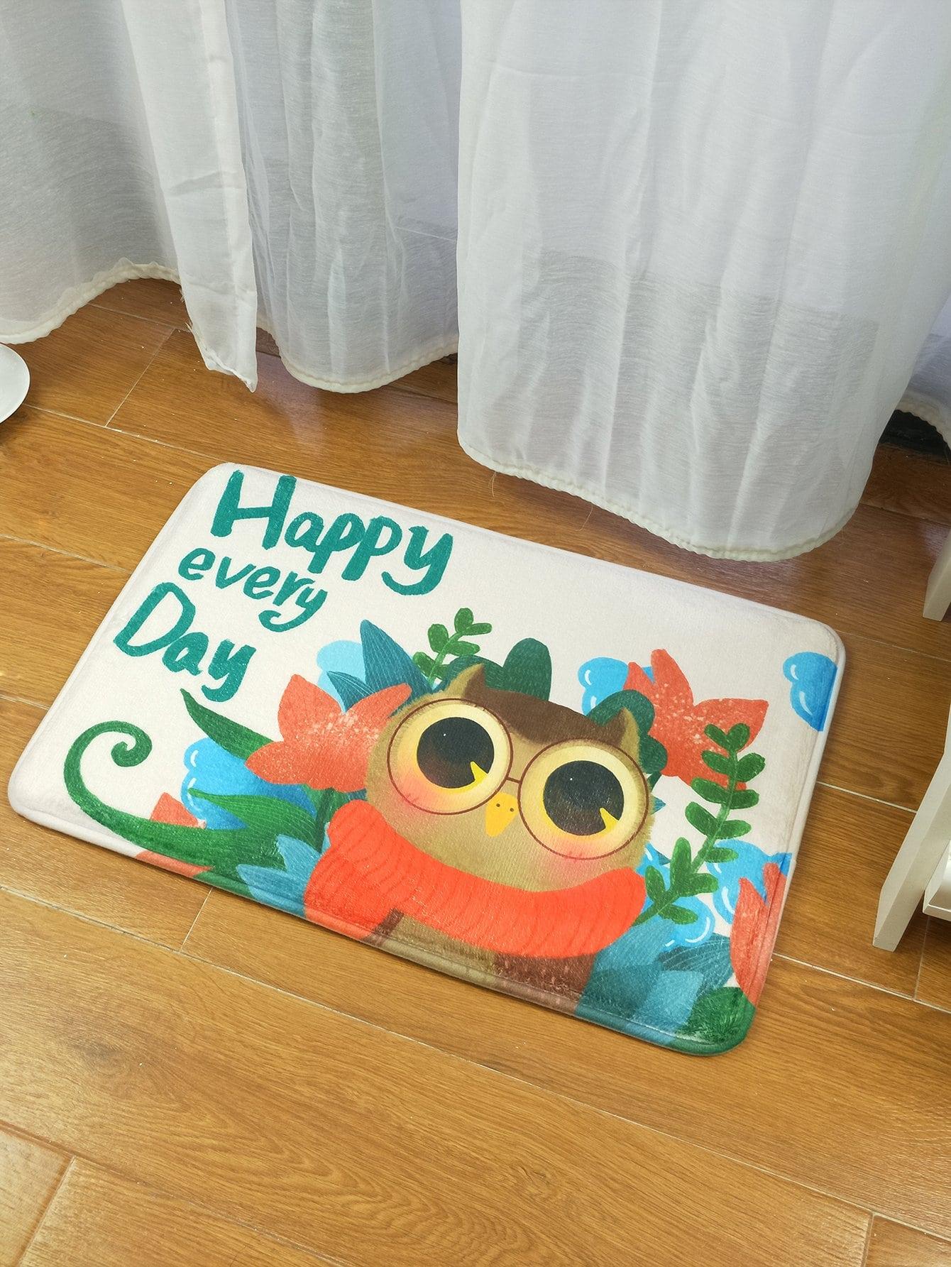 Cartoon Owl Print Mat cartoon animal door mat