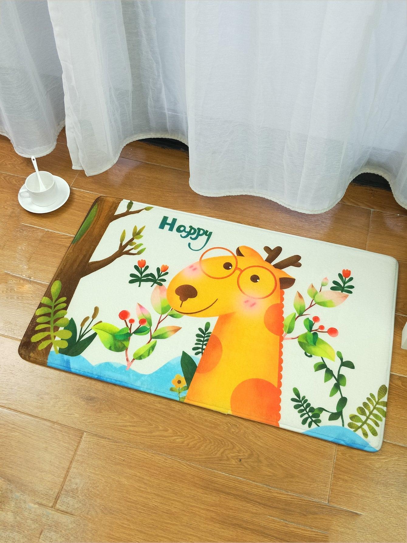 Cartoon Giraffe Print Mat cartoon animal door mat
