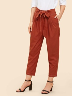 Belted Waist Tapered Pants
