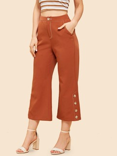 Button Fly Pockets Wide Pants