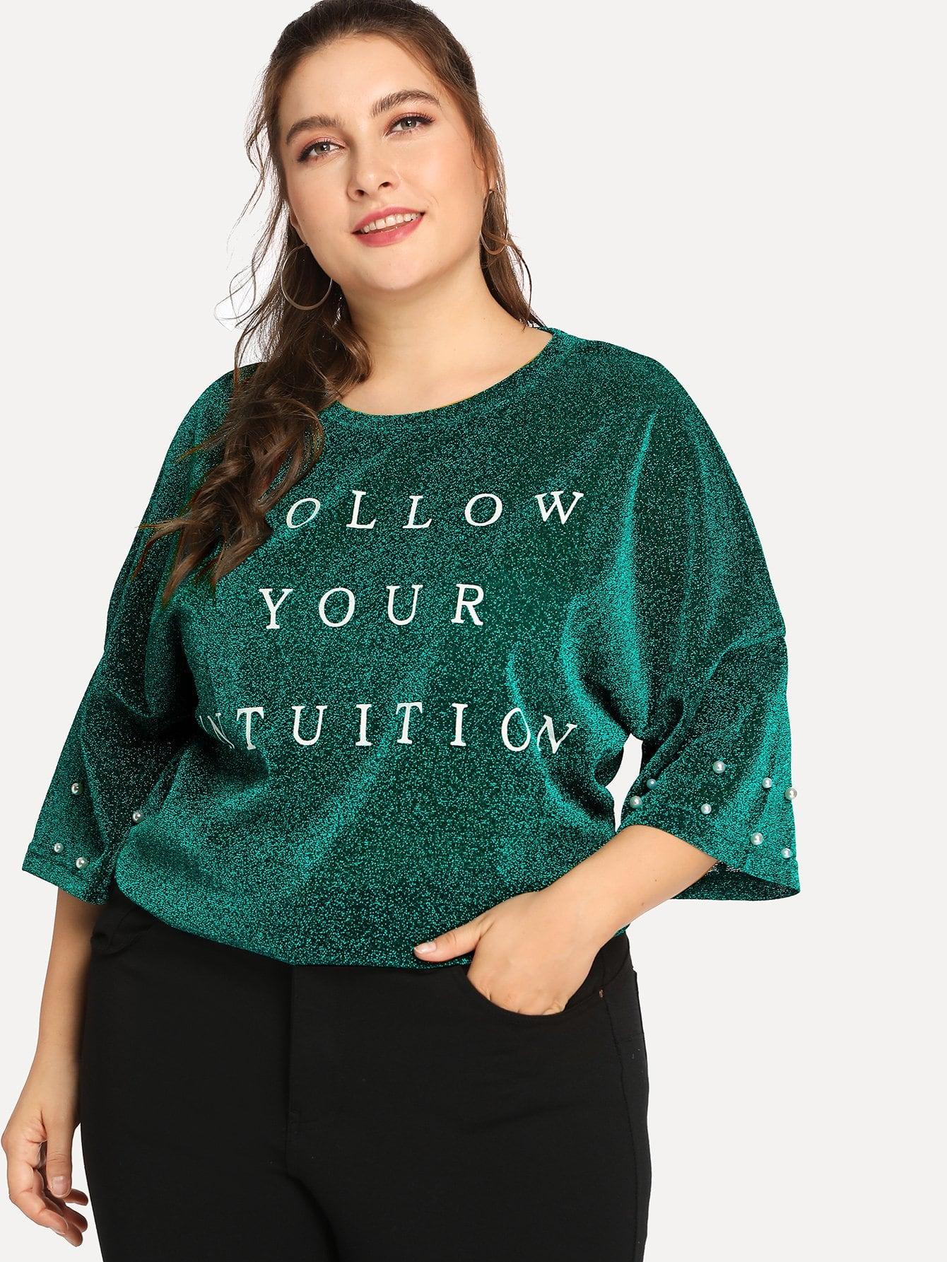 Купить Блестящая футболка с надписью и жемчужинами, Franziska, SheIn