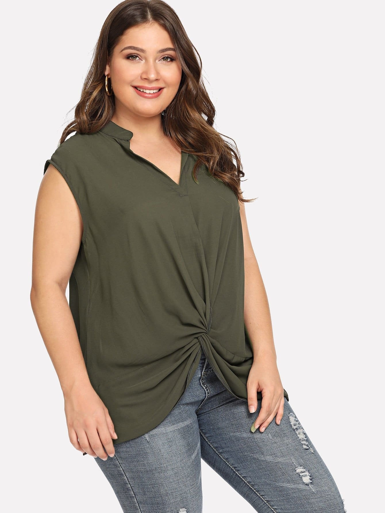 Plus Knotted Sleeveless Plain Tops