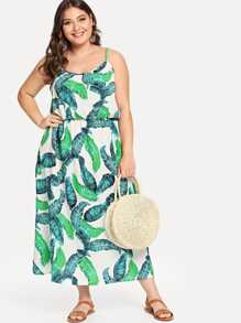 Plus Cold Shoulder Palm Tree Print Dress