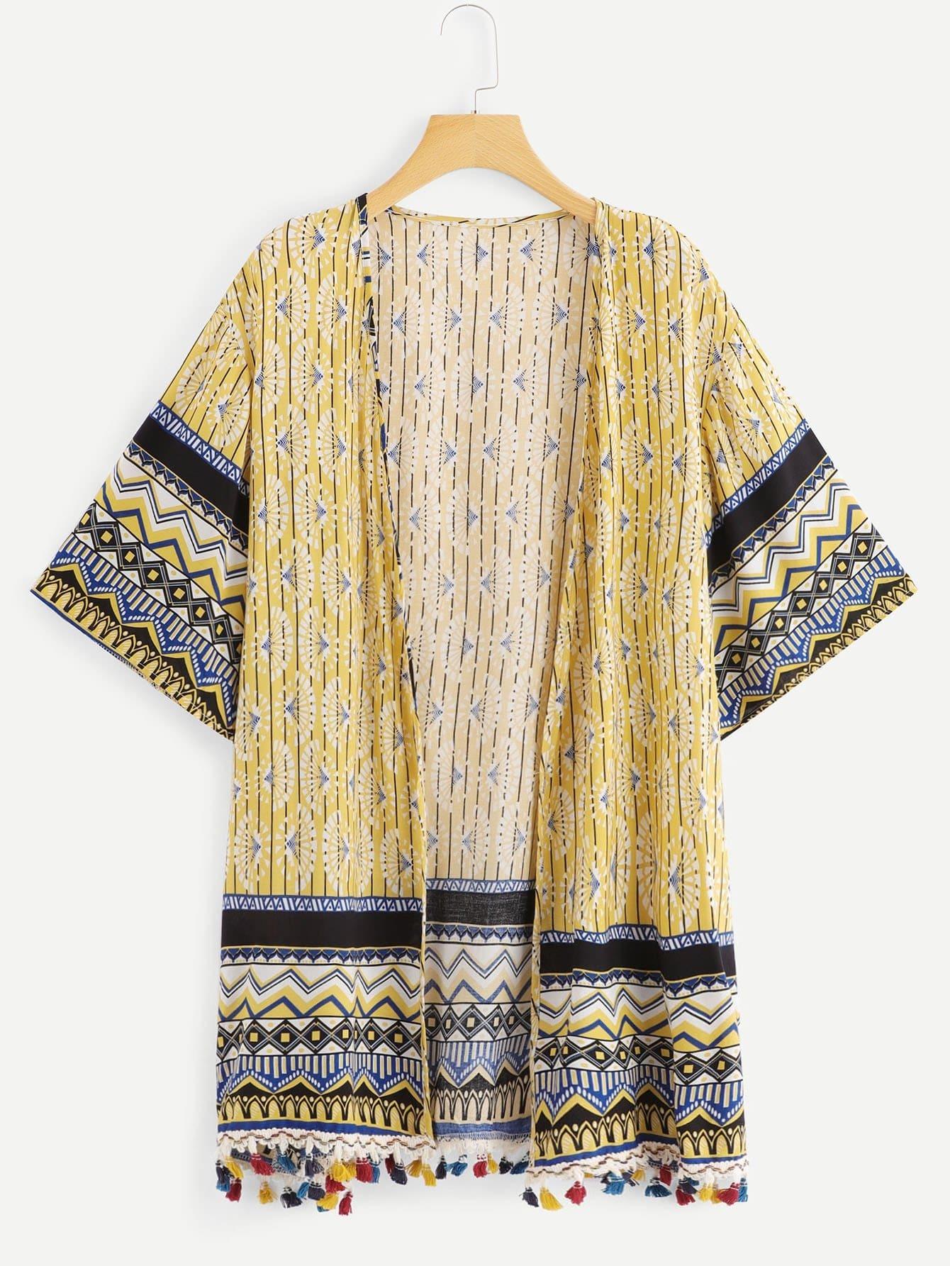 Plus Fringe Geometric Print Kimono