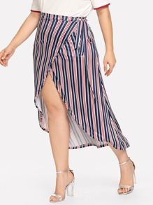 Plus Lace Up Striped Wrapped Skirts