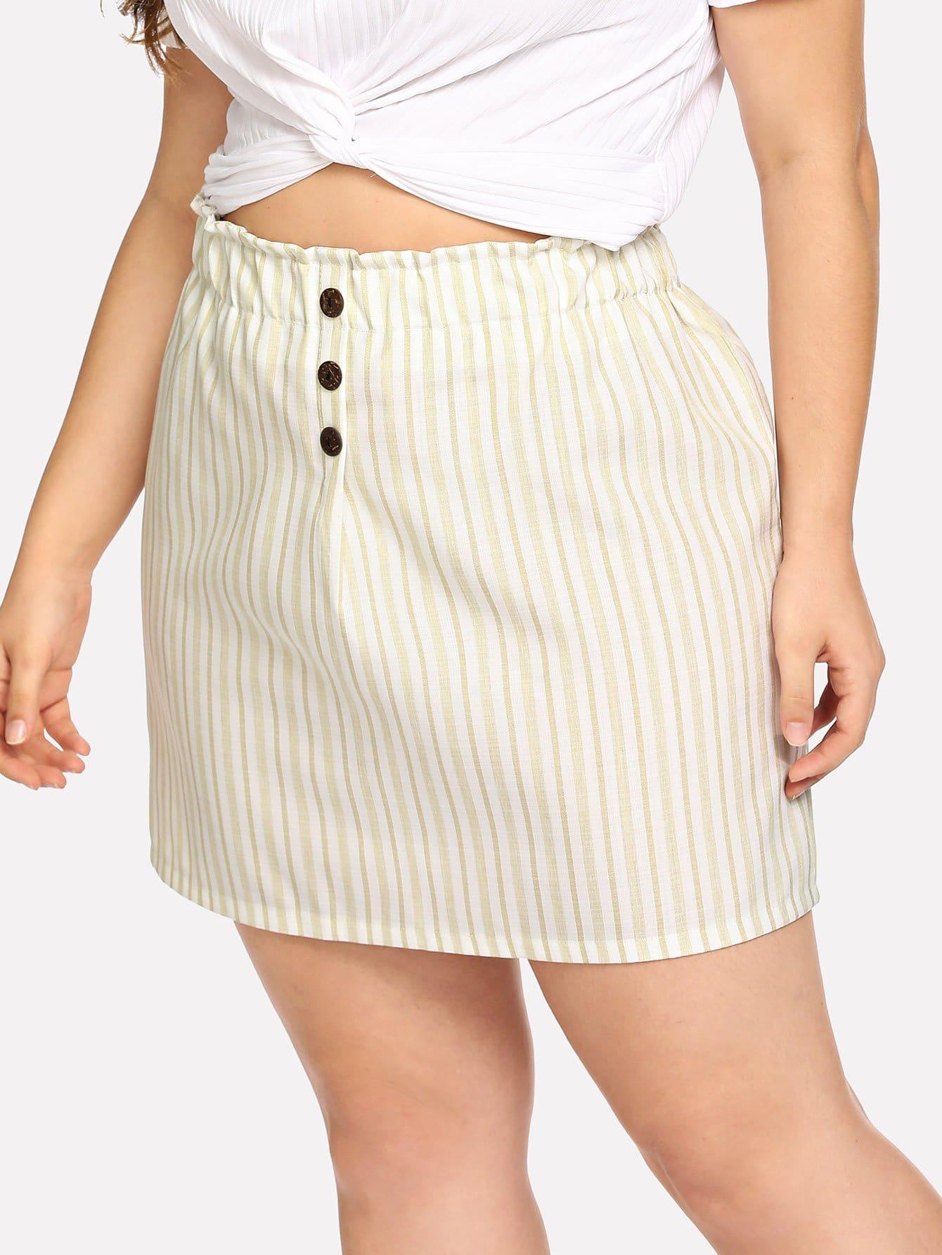 Купить Полосатая юбка и с украшением пуговиц, Carol, SheIn