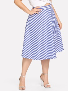 Plus Striped Flared Skirts