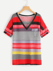 Plus Multicolor Striped V-neck Tee