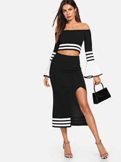 Off Shoulder Flounce Sleeve Top & Slit Skirt Set
