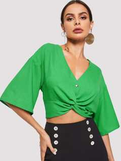 Buttoned Twist Front Crop Blouse