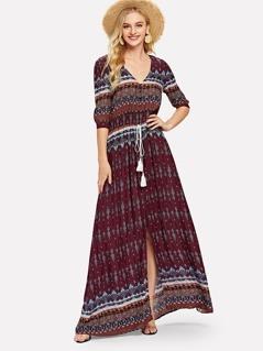 Tribal Print Tassel Tie Waist Dress