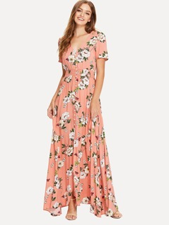Shirred Waist Floral Print Maxi Dress