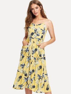 Tropical & Pineapple Print Button Up Cami Dress