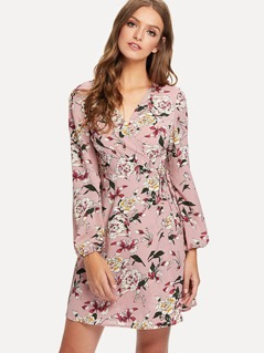 Floral Print Lantern Sleeve Surplice Wrap Dress