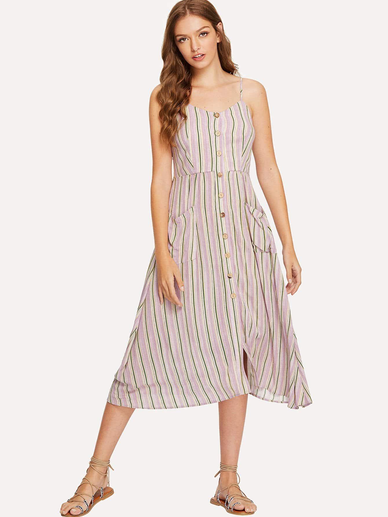 Pocket Front Button Up Striped Cami Dress fold over button up front striped shirt dress
