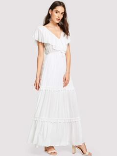 Flounce Shoulder Tassel Trim Dress