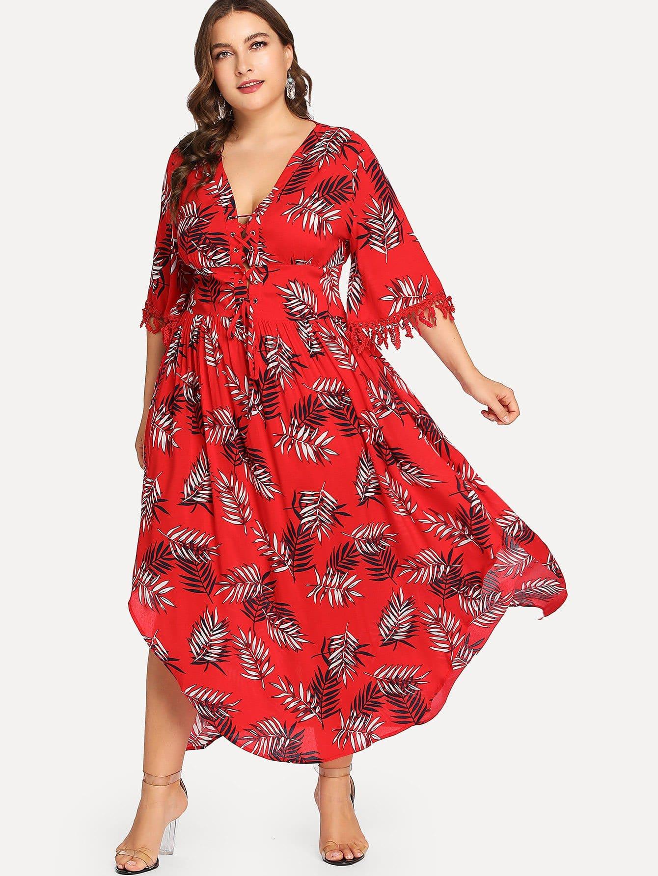 все цены на Plus Crisscross Neck Tassel Detail Tropical Dress