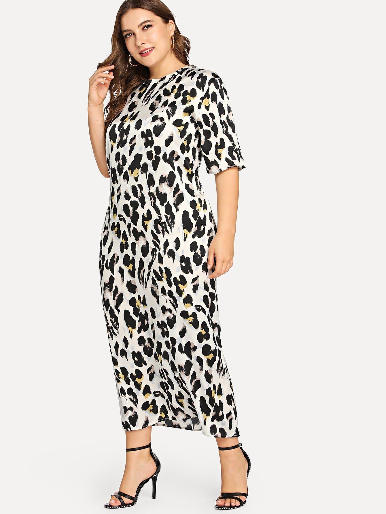 Купить Платье леопард с ложным воротником, Franziska, SheIn