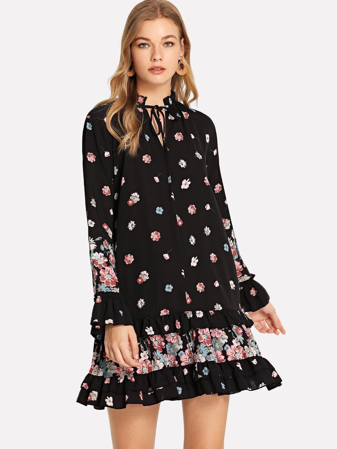 Купить Платье с оборками и широкими рукавами, Teresa, SheIn