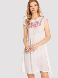 Embroidery Yoke Smock Dress