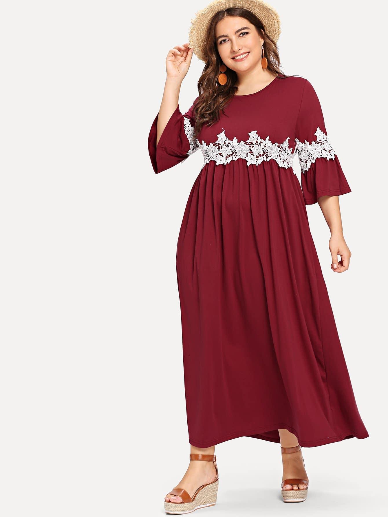 Купить Платье аппликационного кружевного флиса с флисом, Franziska, SheIn