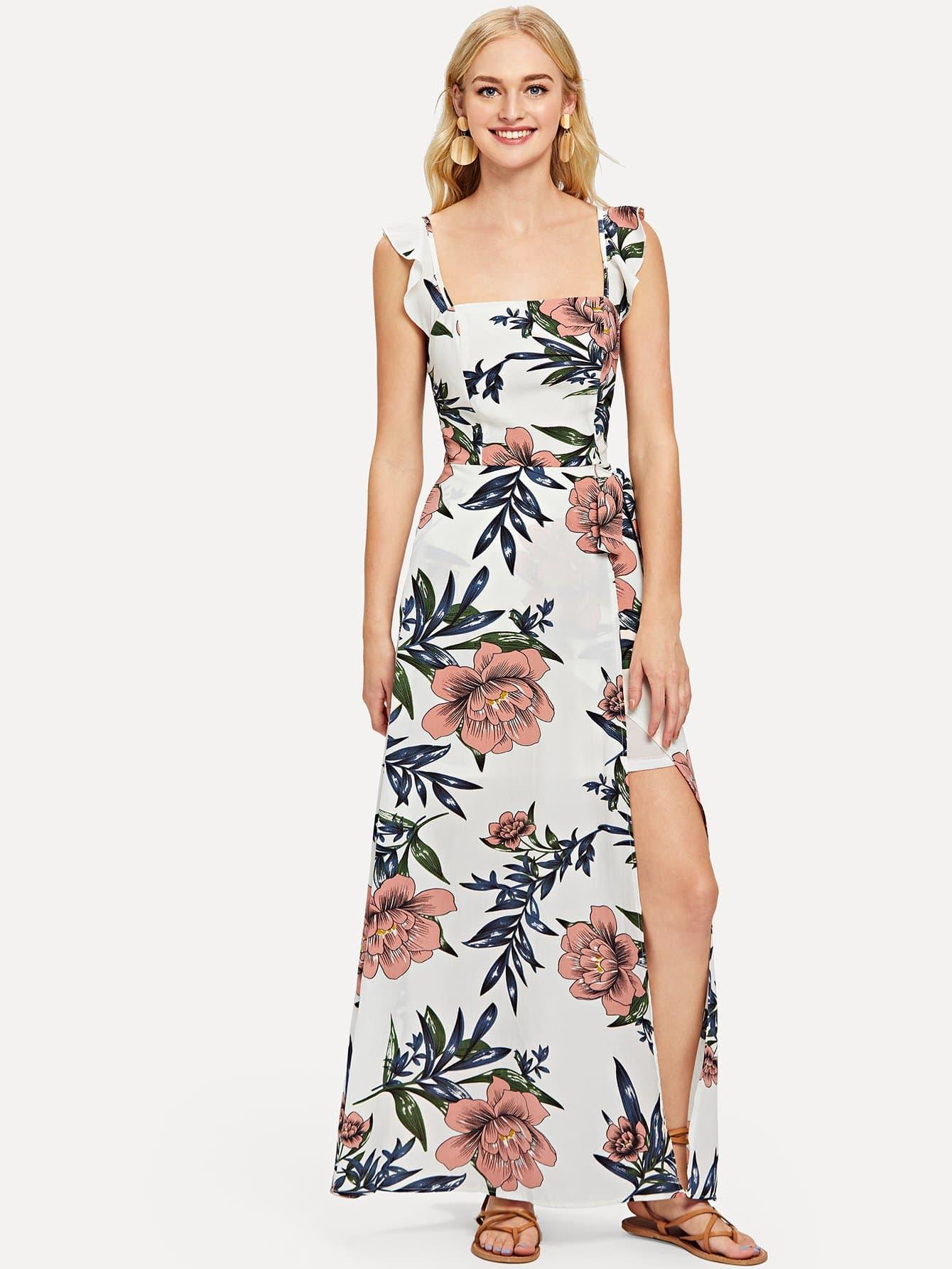 Botanical Print Overlap Slit Hem Ruffle Dress ruffle trim overlap hem dress