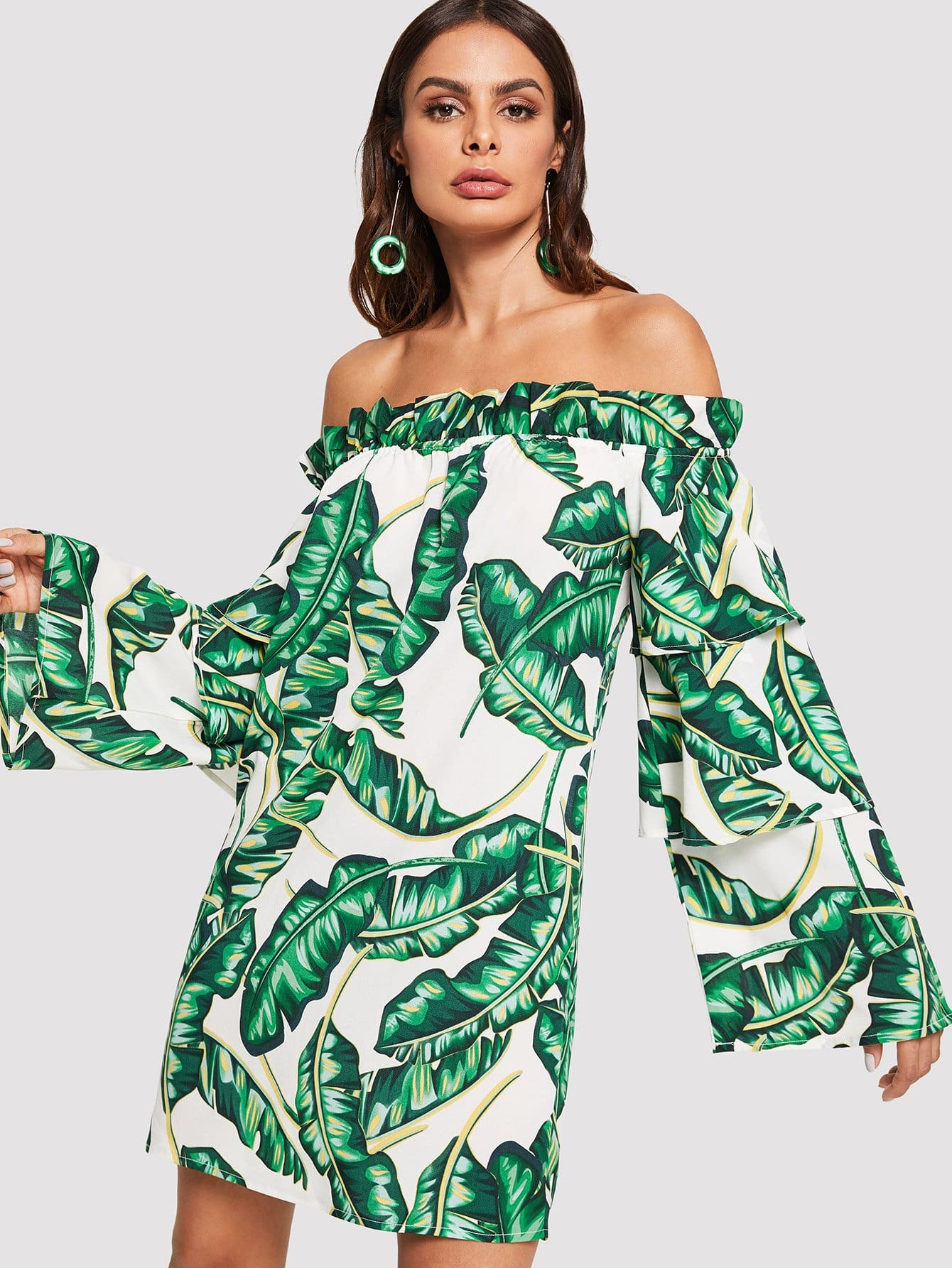 Tropical Print Layered Flounce Sleeve Frilled Bardot Dress