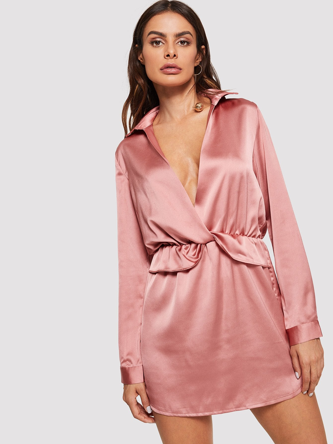 Plunging Neck Satin Dress plunging neck fit