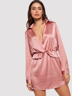 Plunging Neck Satin Dress