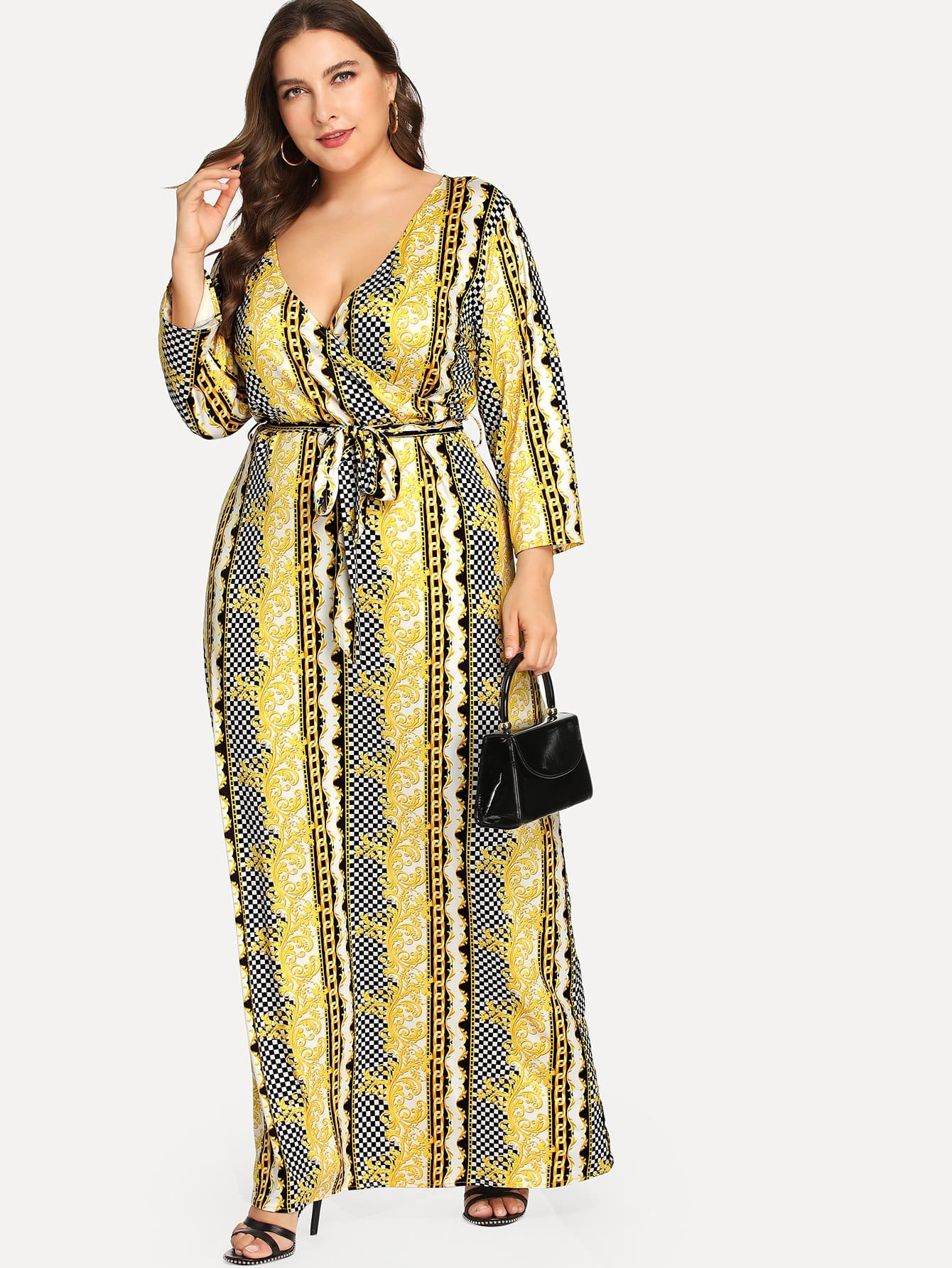 Plus Mixed Print Self Belted Surplice Wrap Maxi Dress mixed print surplice wrap jumpsuit