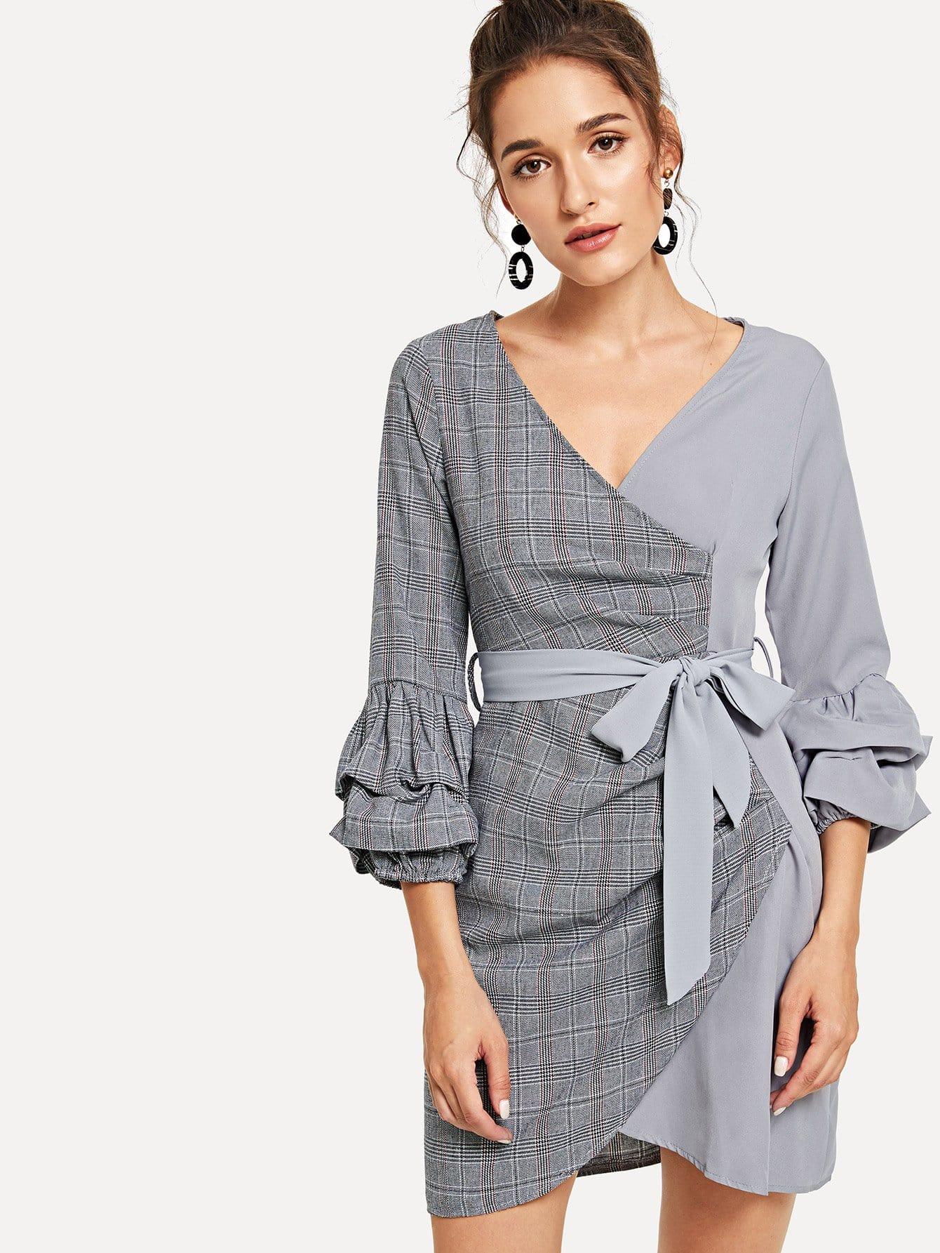 Gathered Sleeve Cut And Sew Wrap Dress