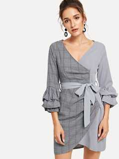 Gathered Sleeve Cut And Sew Wrap Dress
