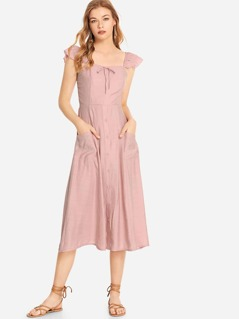 Pocket Patched Button Up Bardot Dress