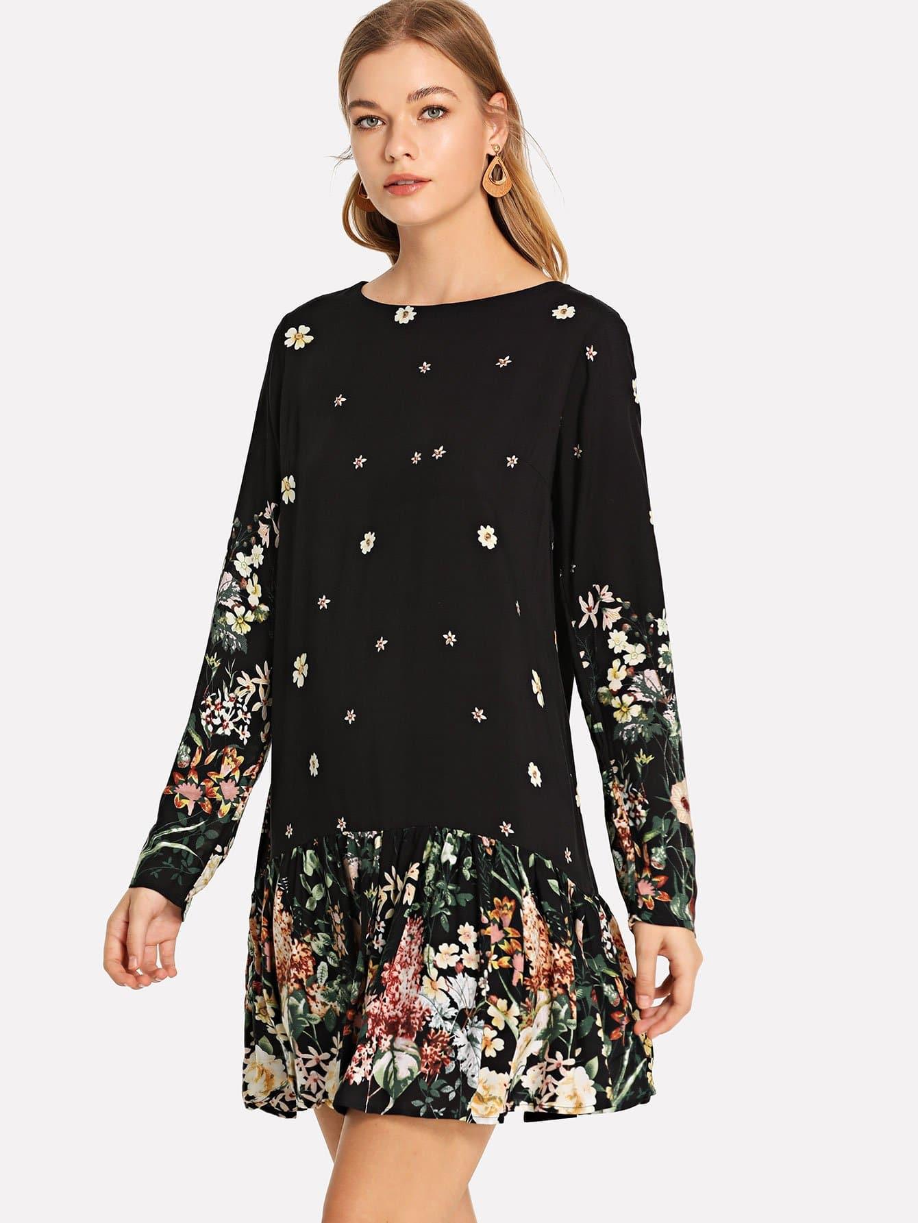 Купить Ботаническая печать Drop Waist Flounce Hem Dress, Teresa, SheIn