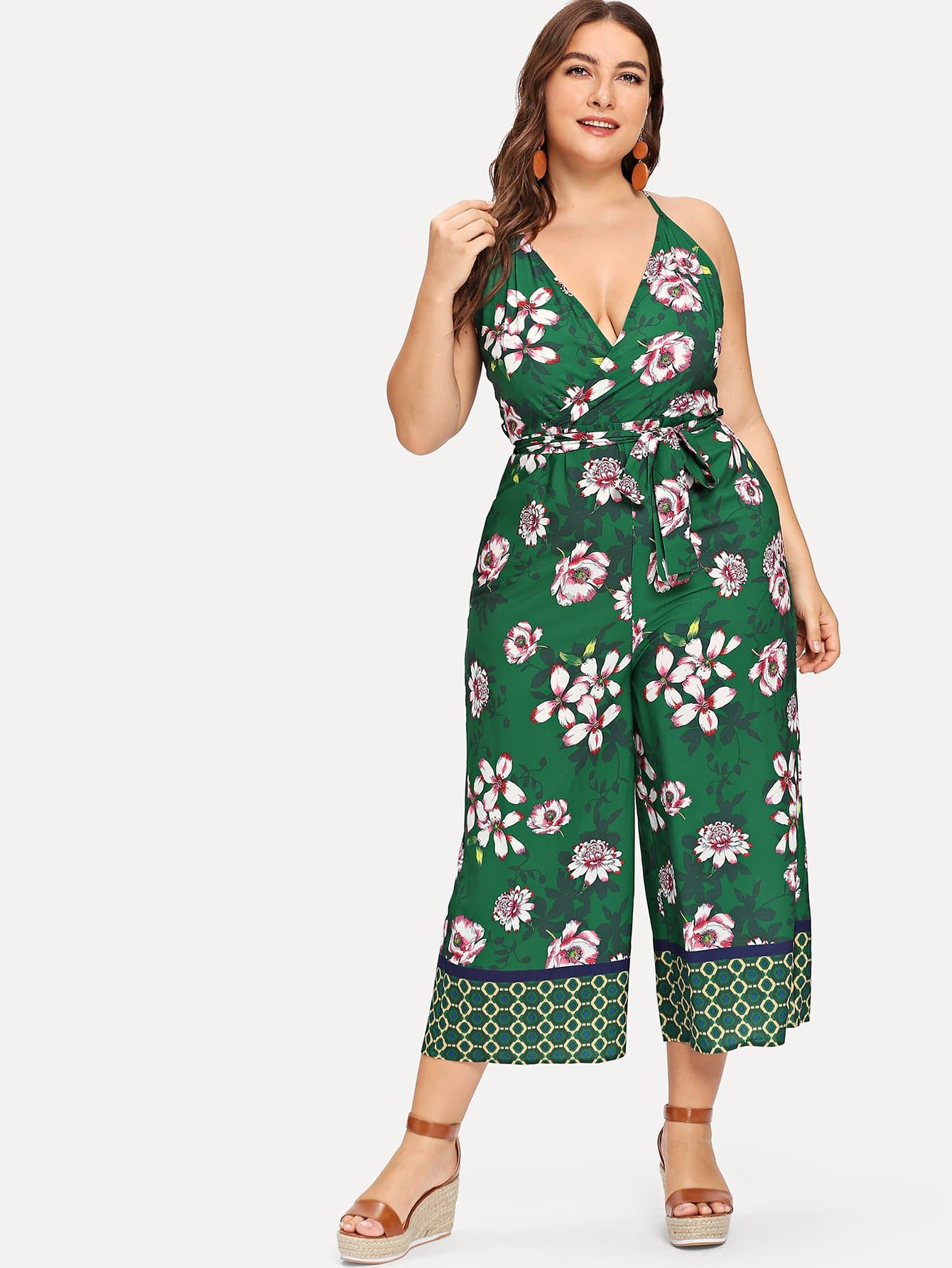 Plus Flower Print Wide Leg Cami Jumpsuit цены